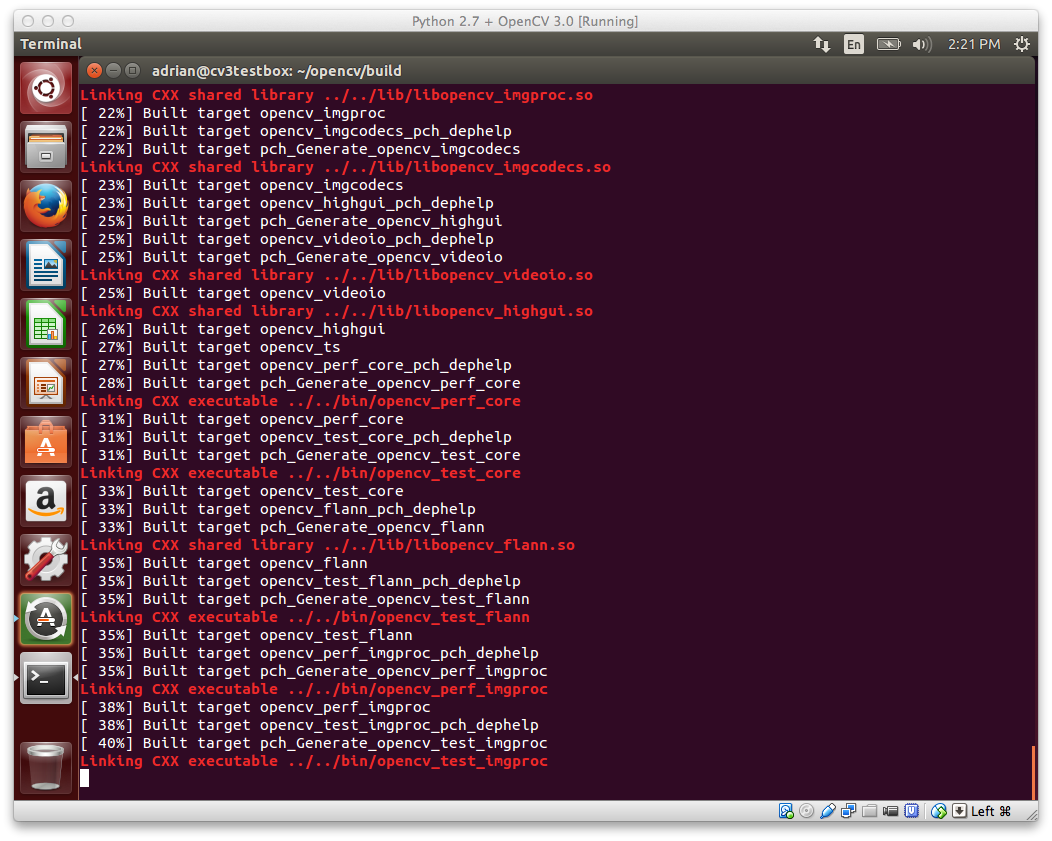 Figure 1: OpenCV 3.0 with Python 2.7+ support compiling on my Ubuntu 14.04 system.