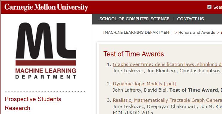 卡内基梅隆大学(CMU),那些经受住时间考验的机器学习论文–第一弹:互联网拓扑规律研究