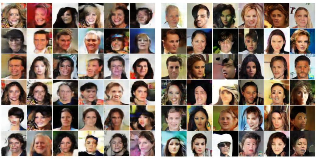 DCGAN个EBGAN生成人脸对比