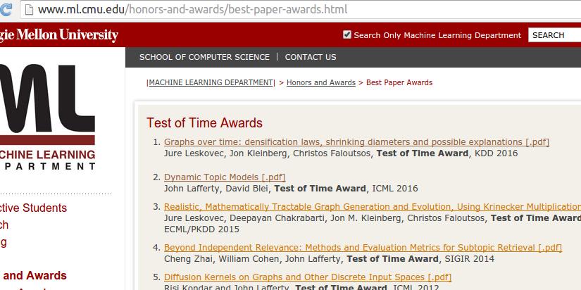 系列论文分析预告—卡耐基梅隆大学 机器学习专业 历年最佳论文